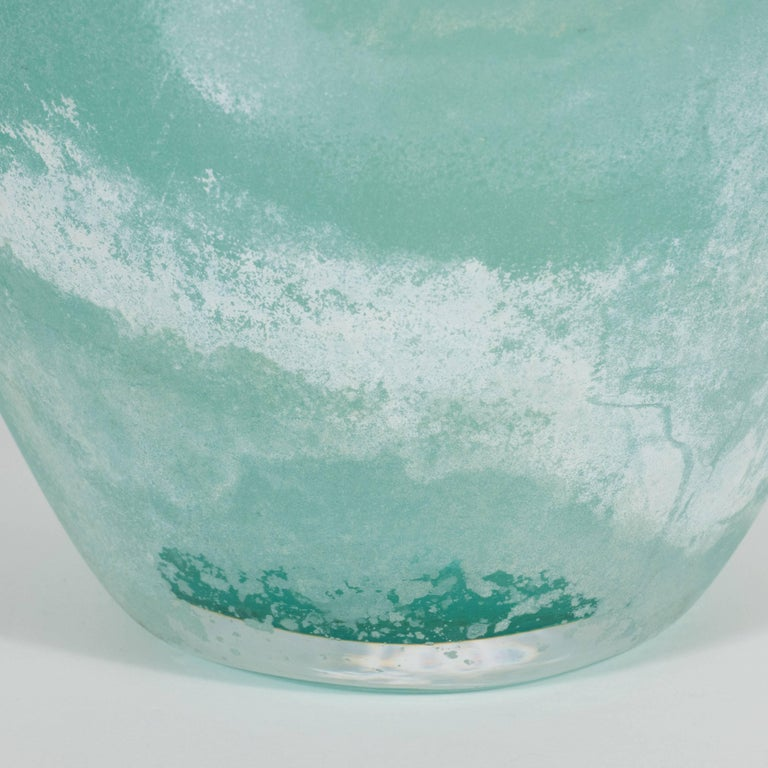 Mid-Century Modern Scavo Finish Murano Glass Aquamarine Vase by Seguso of Italy For Sale 1