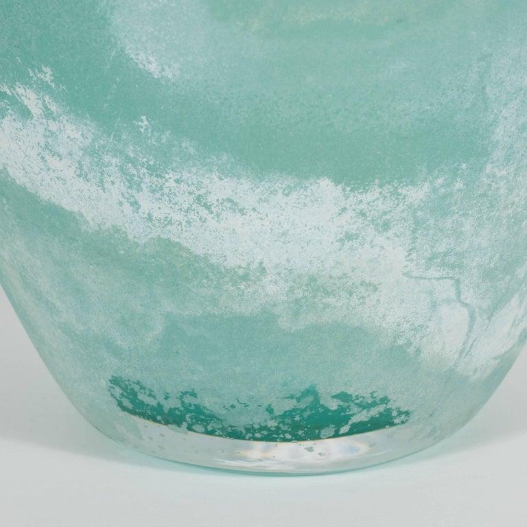 Mid-Century Modern Scavo Finish Murano Glass Aquamarine Vase by Seguso of Italy 7