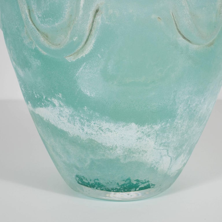 Mid-Century Modern Scavo Finish Murano Glass Aquamarine Vase by Seguso of Italy For Sale 2