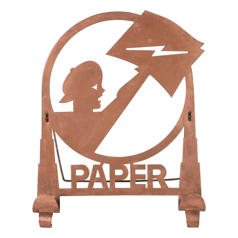 American Art Deco Machine Age Copper Paper Holder Depicting a Newsboy