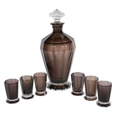 French Art Deco Seven Piece Smoked Glass Bar Set with Decanter and Shot Glasses