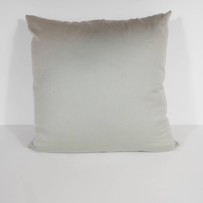 Custom handmade dove gray pillow with embroidered circular