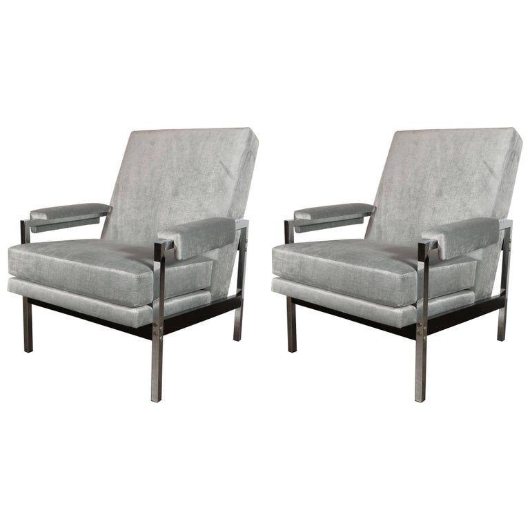Mid-Century Modern Ebonized Walnut and Chrome Armchairs For Sale