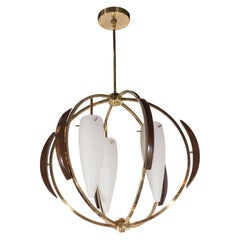 French Mid-Century Modern Hand Rubbed Walnut & Frosted Glass Chandelier