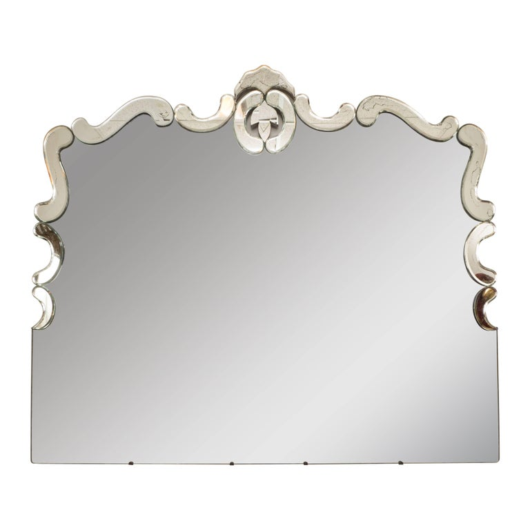 1940s Art Deco Venetian Style Mirror with Raised Scroll Form Border