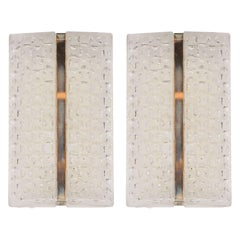 Mid-Century Modern Wall Sconces in Frosted Glass and Chrome