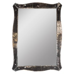 1940s, Smoked Mirror with Chain Beveled Details and Scalloped Edges