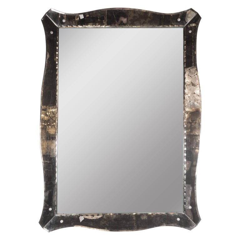 1940s Smoked Mirror With Chain Beveled Details And