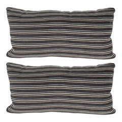 Pair of Modern Rectangular Striped Velvet Pillows in Neutral Silver & Gold Tones