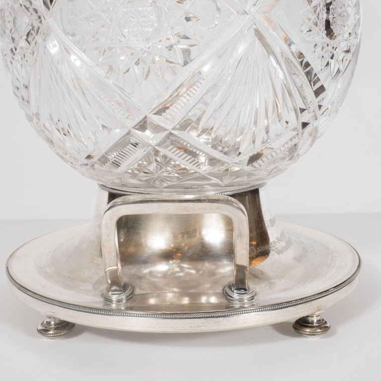 Art Deco Crystal & Silver Plate Punch Bowl/ Trophy with Etched Geometric Designs For Sale 4