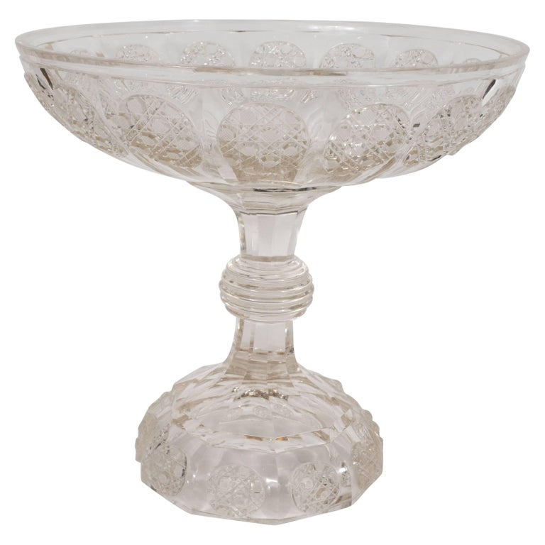 Art Deco Cut Crystal Footed Bowl with Etched Geometric Designs
