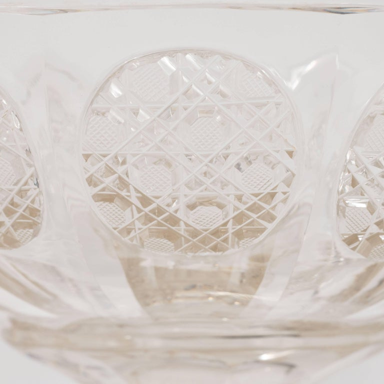Art Deco Cut Crystal Footed Bowl with Etched Geometric ...