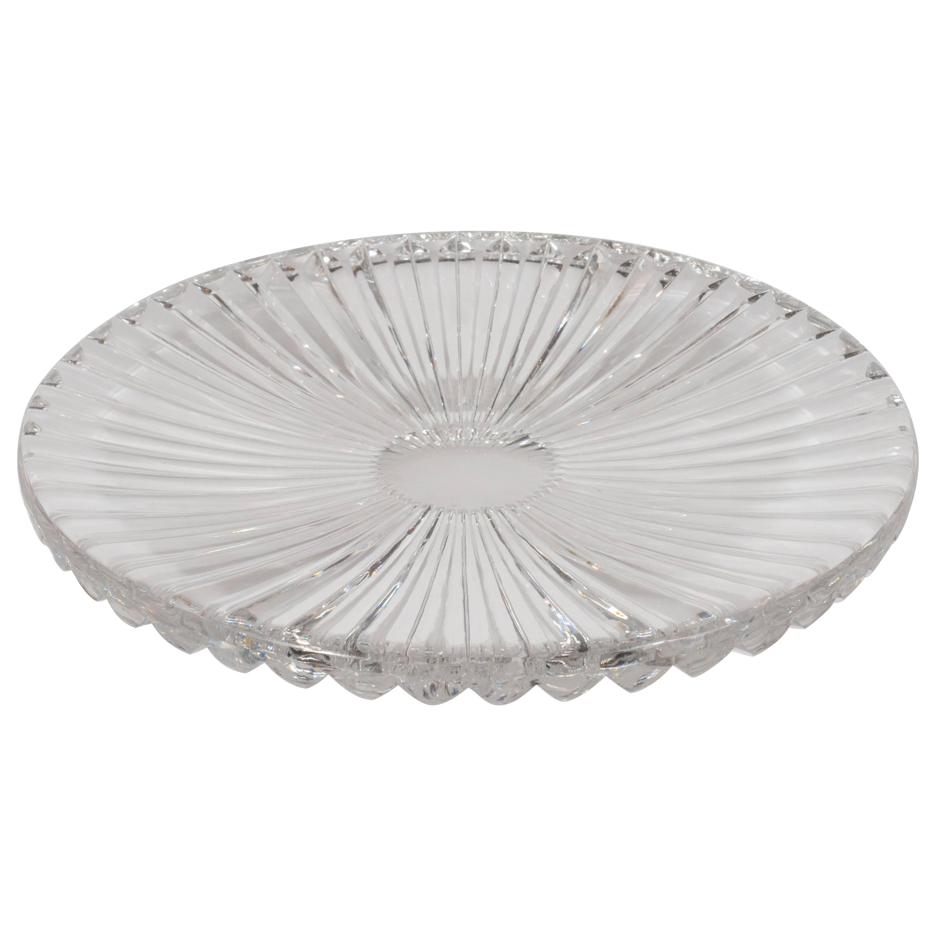 Sophisticated Mid-Century Modern Sunburst Etched Crystal Serving Plate