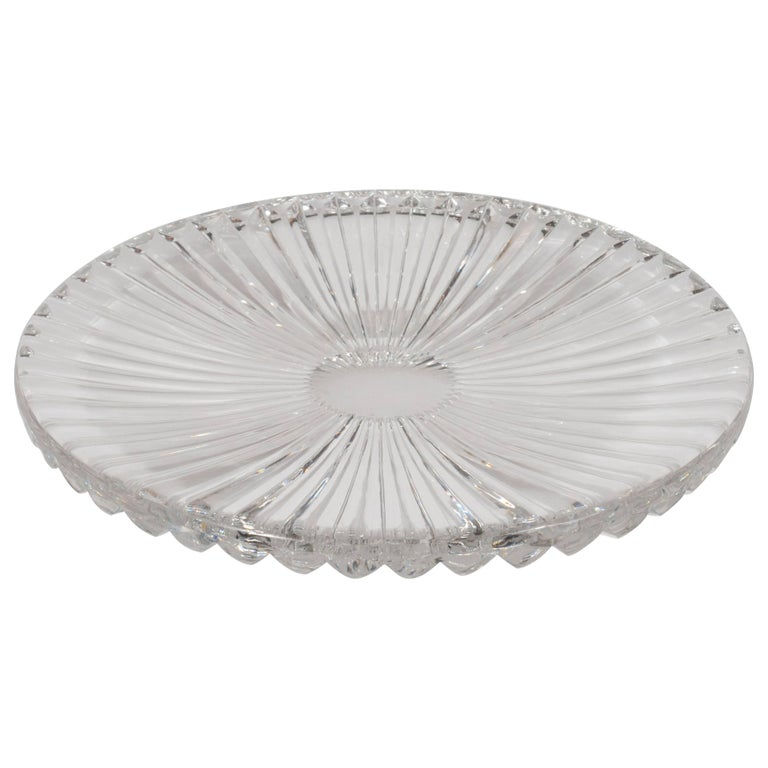 Sophisticated Mid-Century Modern Sunburst Etched Crystal Serving Plate