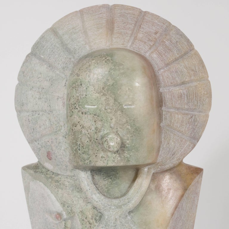 This sophisticated modernist sculpture was realized by acclaimed Southwestern sculptor R.D. Tsosie, whose work is represented in many esteemed public and private collections throughout the world, including at the Santa Fe state capitol. This piece