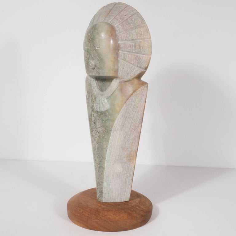 Late 20th Century Stylized Native American Figure with Headdress by Navajo Sculptor R.D. Tsosie For Sale