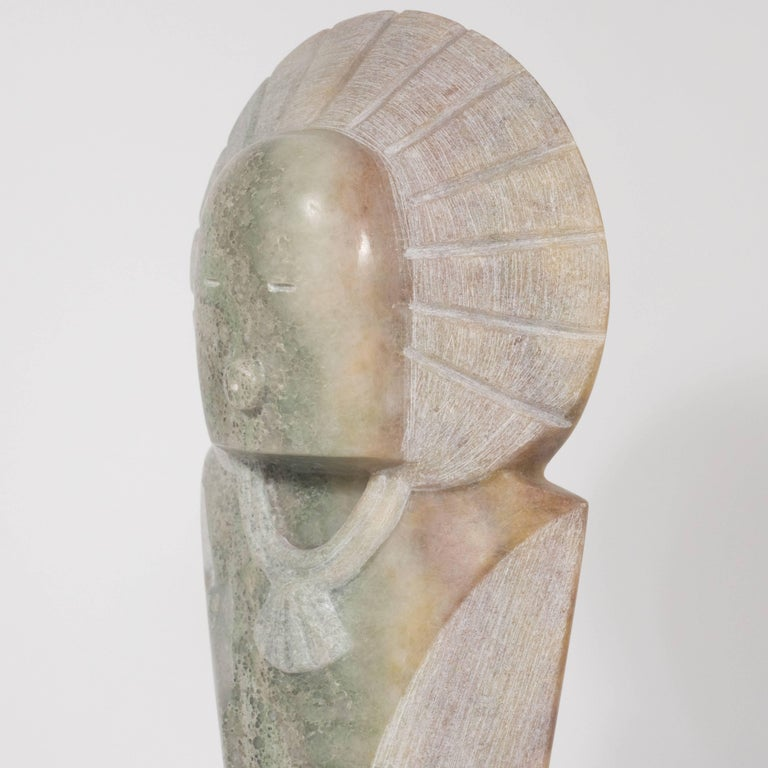 Agate Stylized Native American Figure with Headdress by Navajo Sculptor R.D. Tsosie For Sale