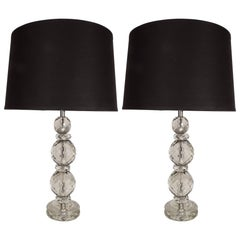 Pair of Elegant 1940s Hollywood Smoked Cut and Beveled Crystal Table Lamps