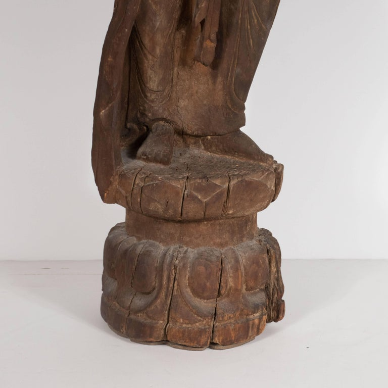 18th Century and Earlier 18th Century Hand-Carved Jichi Wood Guanyin Figure For Sale