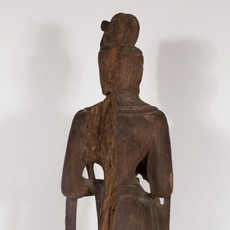 Hardwood 18th Century Hand-Carved Jichi Wood Guanyin Figure For Sale