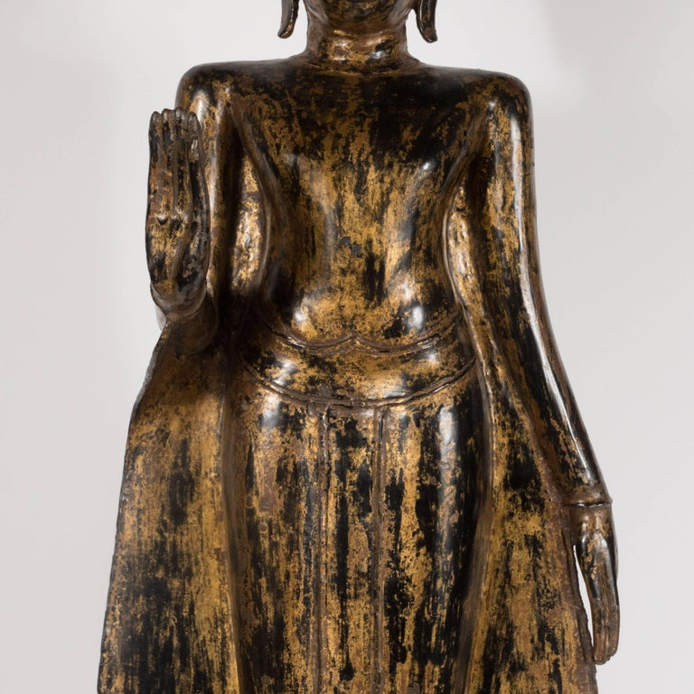 Other 19th Century Thai Bronze Buddha with Patinated Gold Surface For Sale