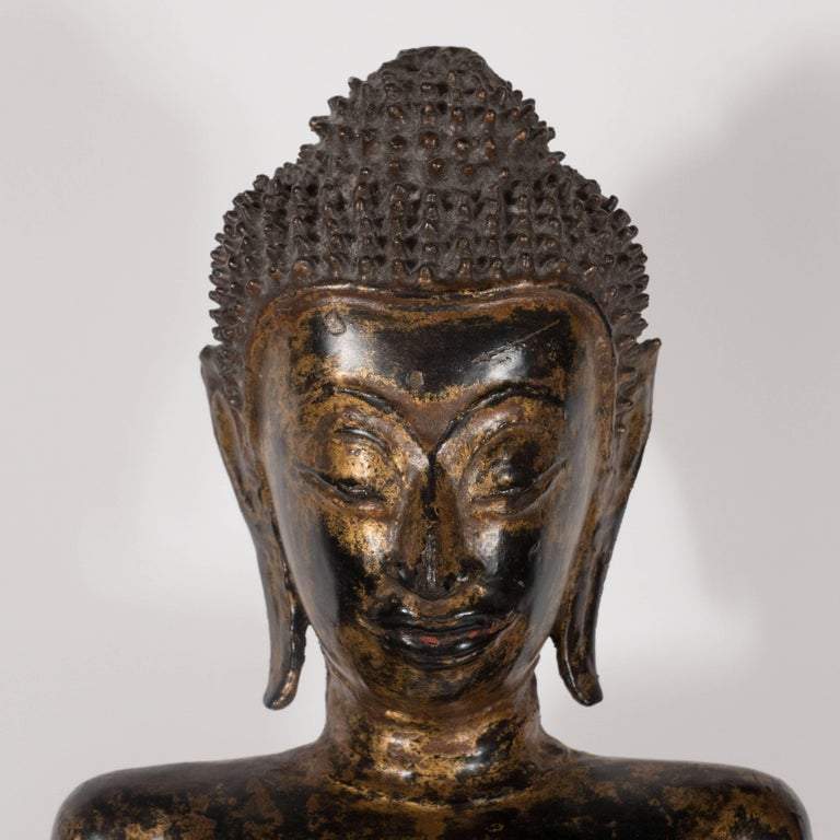 19th Century Thai Bronze Buddha with Patinated Gold Surface For Sale 6
