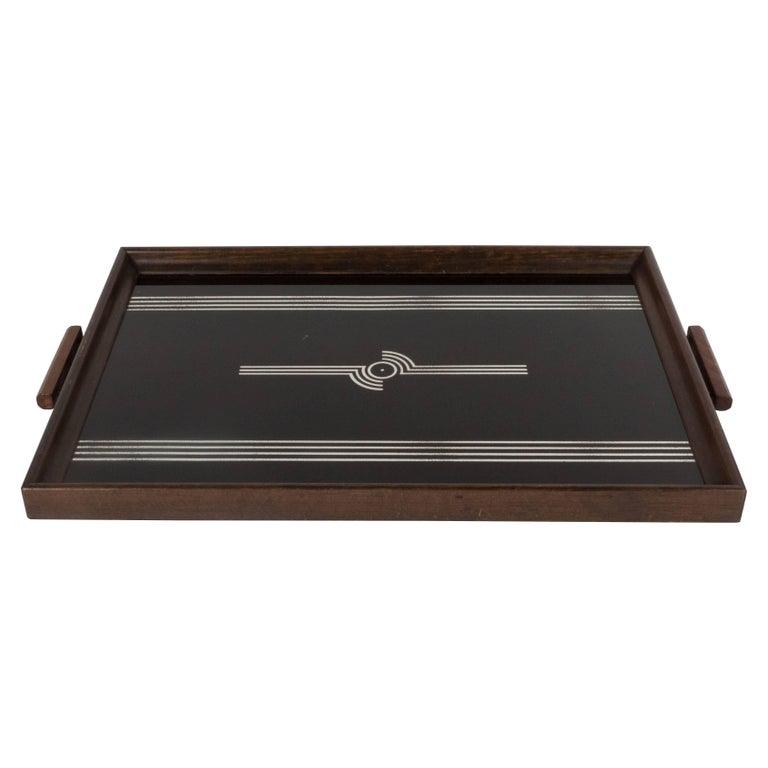 Art Deco Machine Age Streamlined Sterling Silver Glass Tray, Walnut Perimeter