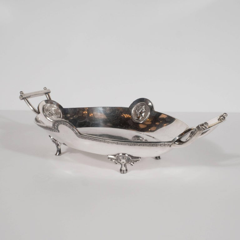 Redfield & Rice Silver Plated Etruscan Handled Bowl with Classical Motifs In Excellent Condition For Sale In New York, NY