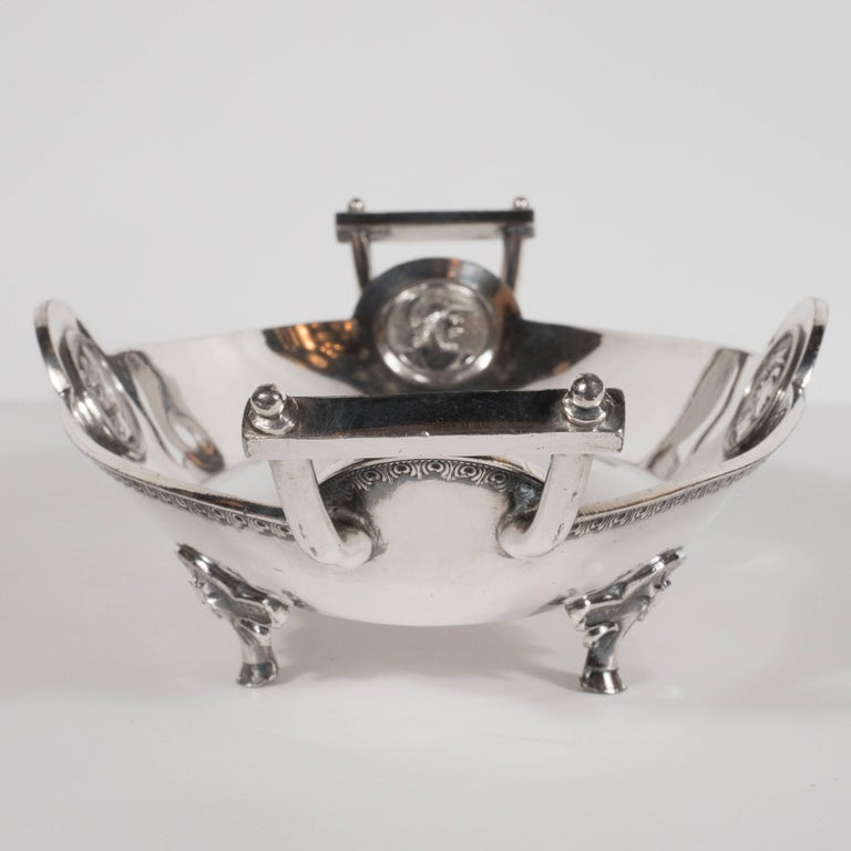 Redfield & Rice Silver Plated Etruscan Handled Bowl with Classical Motifs For Sale 1