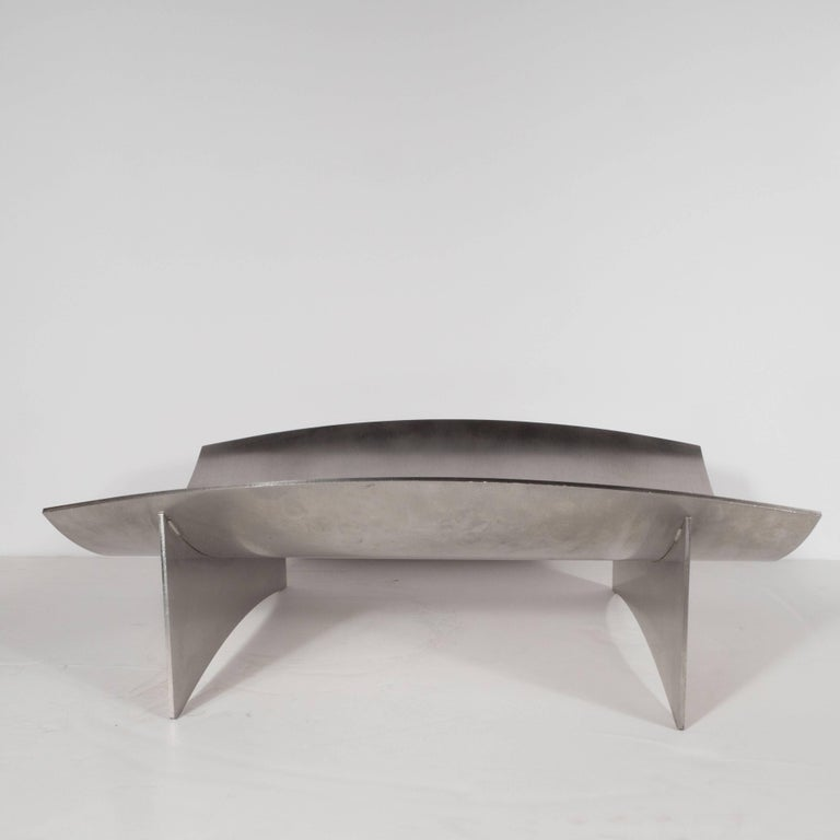 Sculptural Danish Mid-Century Modern Brushed Aluminum Log Holder In Excellent Condition For Sale In New York, NY