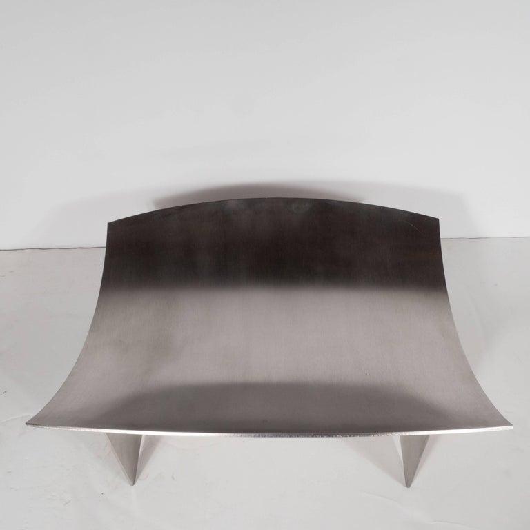 Mid-20th Century Sculptural Danish Mid-Century Modern Brushed Aluminum Log Holder For Sale