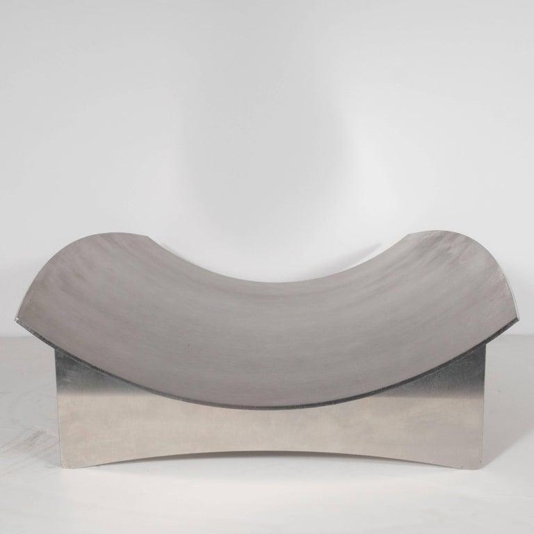 Sculptural Danish Mid-Century Modern Brushed Aluminum Log Holder For Sale 1