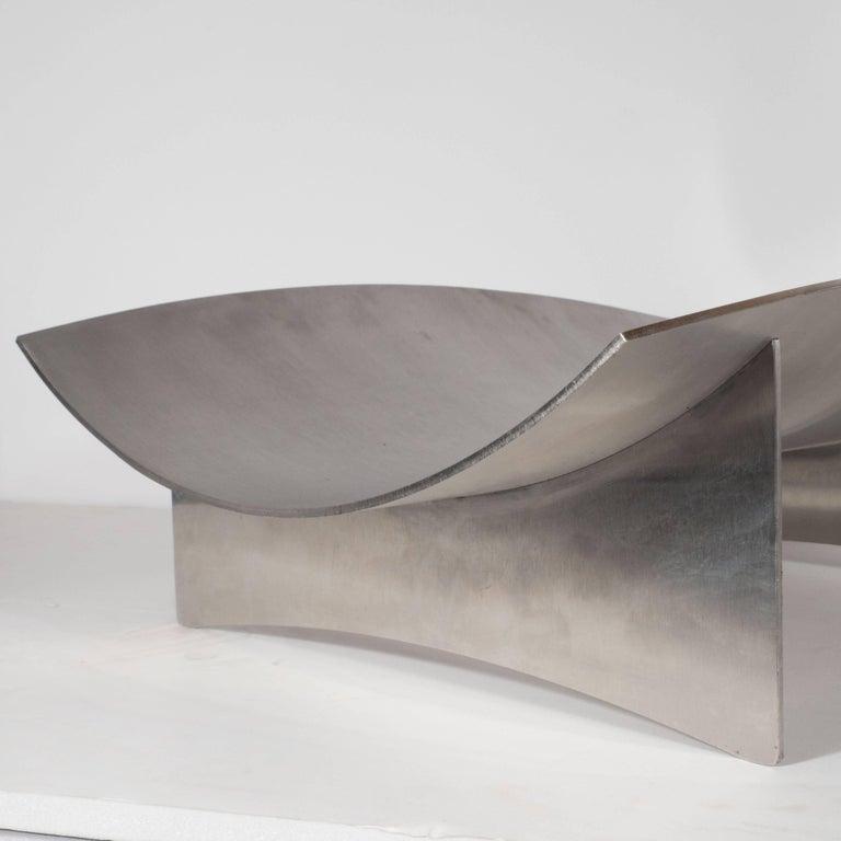 Sculptural Danish Mid-Century Modern Brushed Aluminum Log Holder For Sale 2