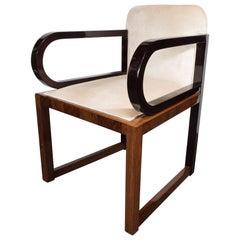 Streamlined Art Deco Polished Walnut Occasional Chair with Ebonized Walnut Arms