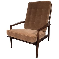 Mid-Century Modern Hand Rubbed Walnut Armchair in Brown Mohair by Milo Baughman