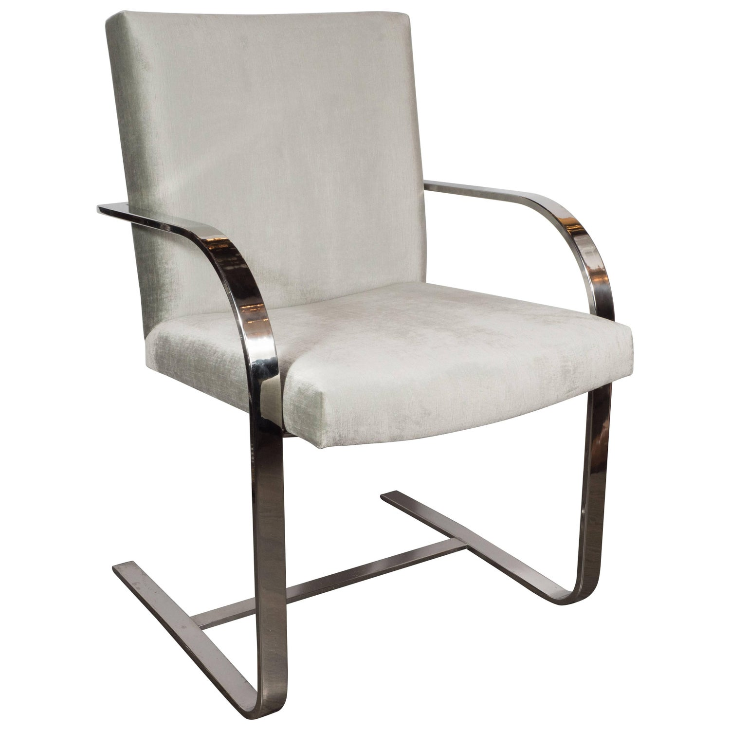Vintage Mid Century BRNO Thin Series Tubular Leather Chair at 1stdibs