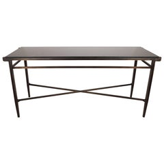 Modernist X-Form Hand Rubbed Bronze Console Table with Black Granite Top