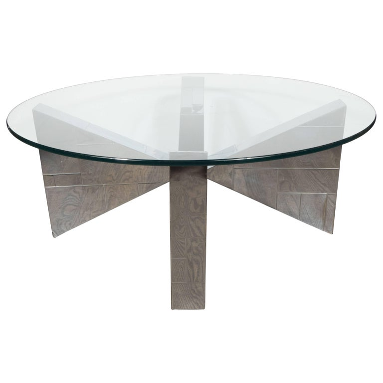 "Espresso And Chrome Coffee Table: ""Cityscape"" Cocktail Table In Patchwork Polished Chrome"