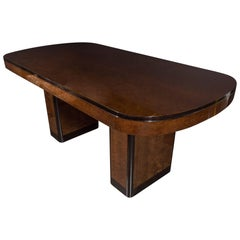 Art Deco Streamlined Dining Table in Carpathian Elm with Black Lacquer Accents