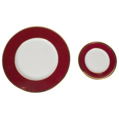 Set of 36 Dining Plates 24-Karat Gold and Ruby Hand-Painted Porcelain, Coalport