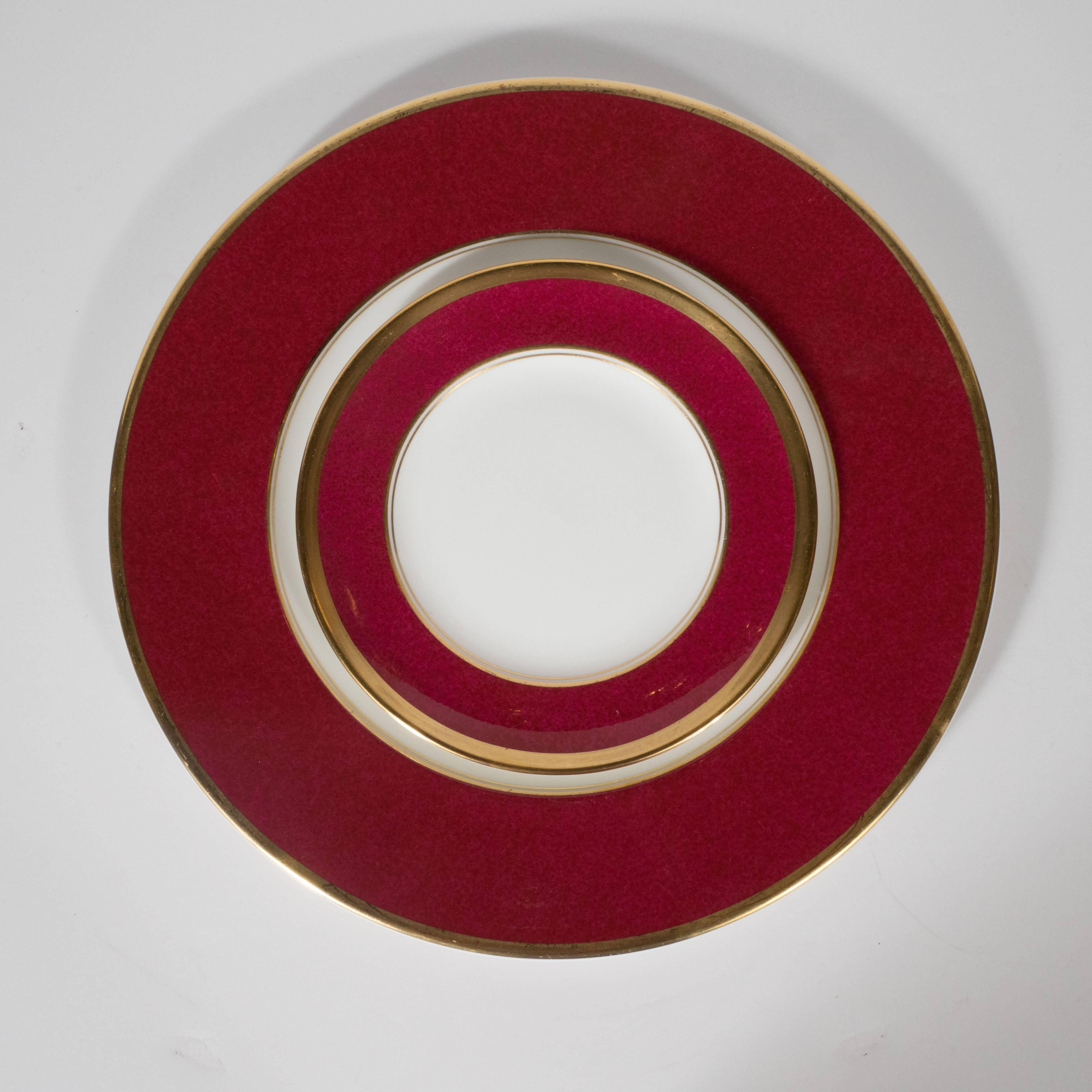 This gorgeous set of Mid-Century Modern bone china dining plates were realized by the & Set of 36 Dining Plates 24-Karat Gold and Ruby Hand-Painted ...