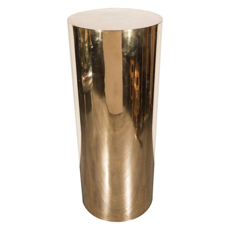 Sleek Mid-Century Modern Cylindrical Brass Pedestal