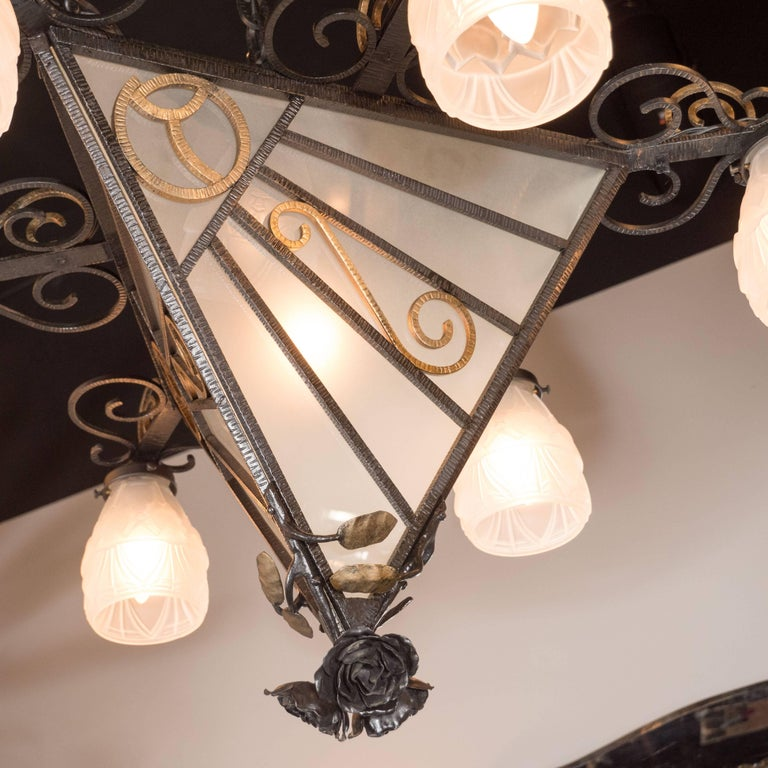 Mid-20th Century French Art Deco Wrought Iron Six-Arm Chandelier with Rose Finial For Sale