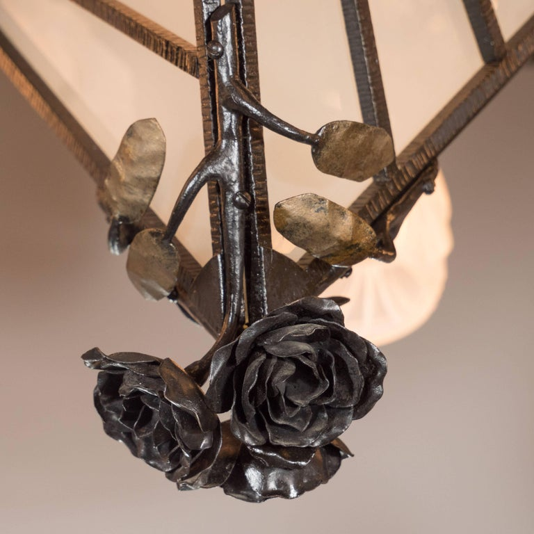 Glass French Art Deco Wrought Iron Six-Arm Chandelier with Rose Finial For Sale