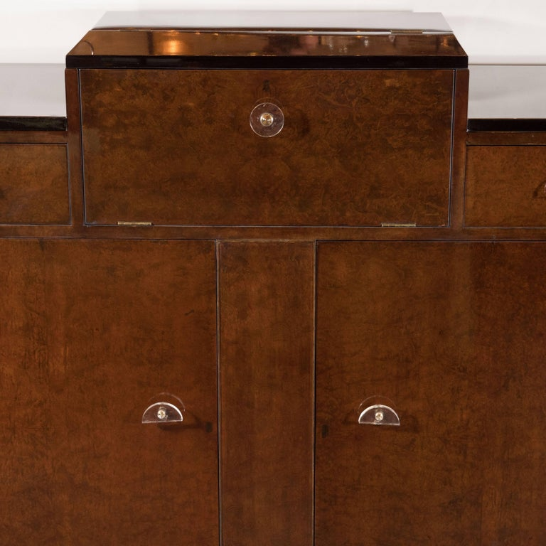 American Streamlined Art Deco Bar/Cabinet in Book-Matched Elm with Plexi Pulls For Sale