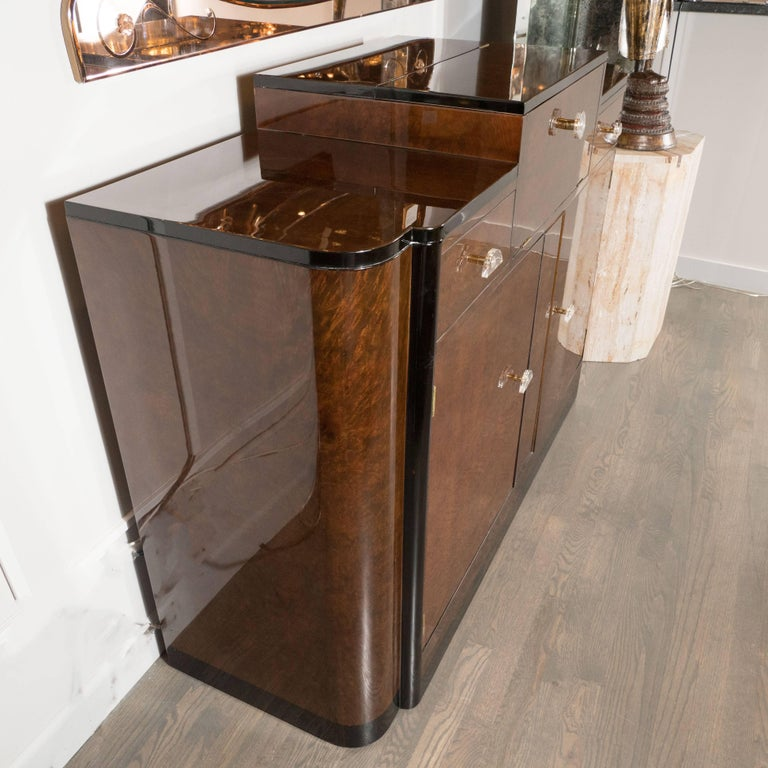 Mid-20th Century Streamlined Art Deco Bar/Cabinet in Book-Matched Elm with Plexi Pulls For Sale