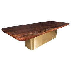 Mid-Century Modern Bookmatched Walnut and Brass Custom Dining Table
