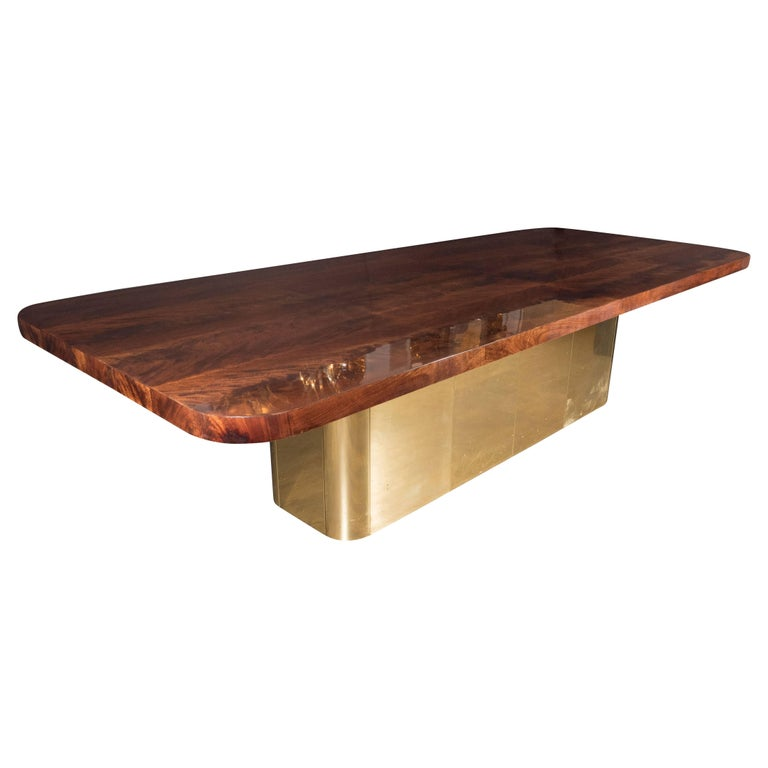 Mid-Century Modern Bookmatched Walnut and Brass Custom Dining Table For Sale