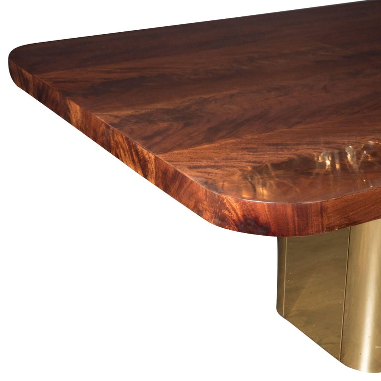 Mid-Century Modern Bookmatched Walnut and Brass Custom Dining Table In Excellent Condition For Sale In New York, NY