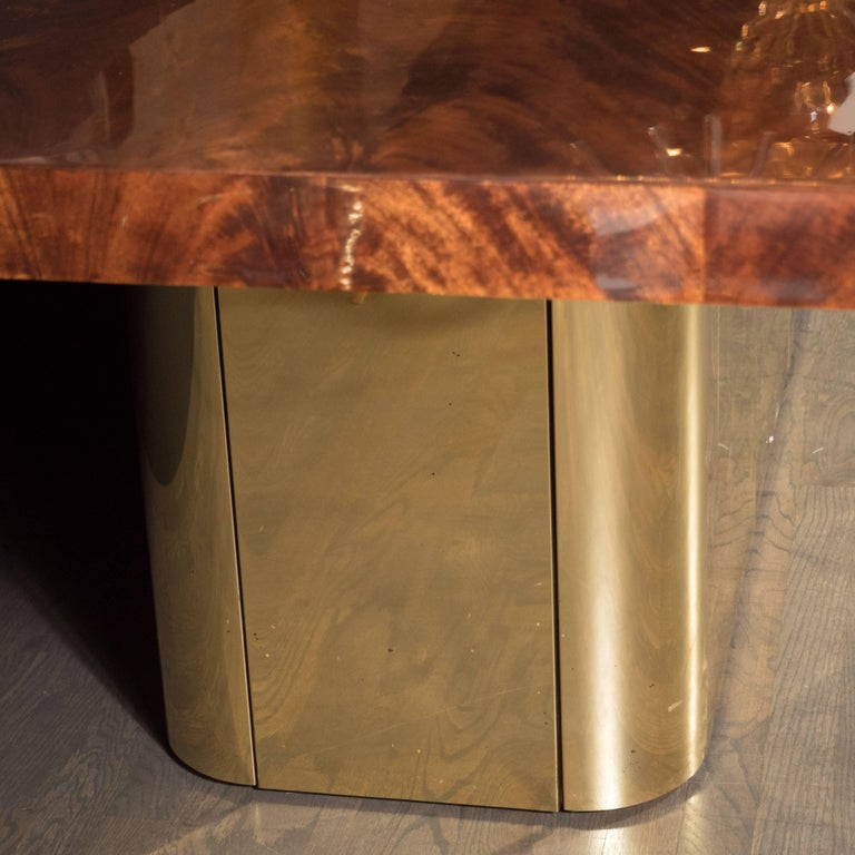 Late 20th Century Mid-Century Modern Bookmatched Walnut and Brass Custom Dining Table For Sale